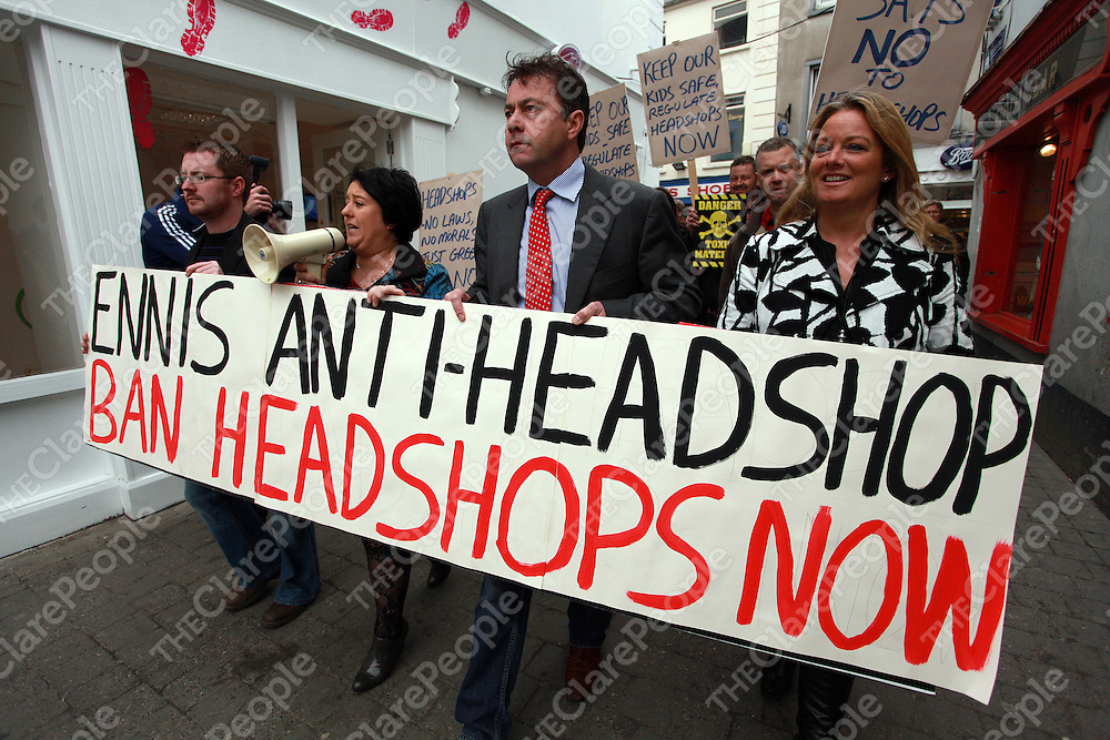 Sean Hayes, Maria Ryan-chairperson of the Anti-Headshop committee, Paul O' Shea and Mary Howard walk through town at a protest to close the remaining headshop in Ennis on Saturday.<br /> Photograph by Yvonne Vaughan