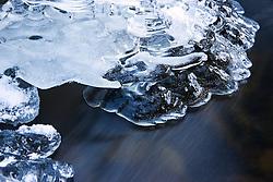 Ice in Tisleia river, Valdres, Norway