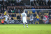 Sean McGinty heads home Torquays 3rd goal during the Vanarama National League match between Torquay United and Forest Green Rovers at Plainmoor, Torquay, England on 26 December 2016. Photo by Shane Healey.