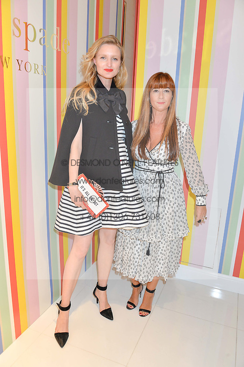 Left to right, CANDICE LAKE and DEBORAH LLOYD at the opening party of the new Kate Spade New York store at 182 Regent Street, London on 21st April 2016.