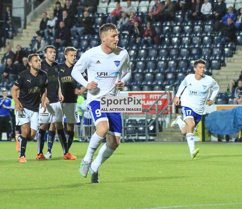 Falkirk V Peterhead PETROFAC TRAINING CUP 18 August 2015; Peterhead's Rory McAllister scores a penalty during the Falkirk V Peterhead PETROFAC TRAINING CUP match played at The Falkirk Stadium, Falkirk.