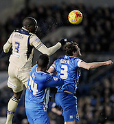 Gordon Greer, Rohan Ince and Souleman Bamba in action during the Sky Bet Championship match between Brighton and Hove Albion and Leeds United at the American Express Community Stadium, Brighton and Hove, England on 24 February 2015. Photo by Stuart Butcher.
