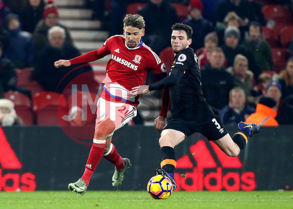Gaston Ramirez of Middlesbrough takes on Andrew Robertson of Hull City - Mandatory by-line: Robbie Stephenson/JMP - 05/12/2016 - FOOTBALL - Riverside Stadium - Middlesbrough, England - Middlesbrough v Hull City - Premier League