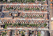 aerial photograph of  terraced houses in  Northampton Northamptonshire  England UK