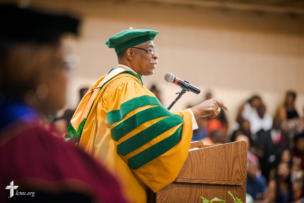Dr. James Lyons, transitional president, addresses graduates and guests at the 92nd and final Commencement Exercises on Saturday, April 28, 2018, in the Julius and Mary Jenkins Center at Concordia College Alabama in Selma, Ala. LCMS Communications/Erik M. Lunsford