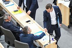 "27.05.2019, Hofburg, Wien, AUT, Sondersitzung des Nationalrates, Sitzung des Nationalrates aufgrund des Misstrauensantrags der Liste JETZT, FPOE und SPOE gegen Bundeskanzler Sebastian Kurz (OeVP) und die Bundesregierung, im Bild v.l. Norbert Hofer (FPÖ), Herbert Kickl (FPÖ), Gernot Blümel (FPÖ) // during special meeting of the National Council of austria due to the topic ""motion of censure against the federal chancellor Sebastian Kurz (OeVP) and the federal government"" at the Hofburg in Wien, Australia on 2019/05/27. EXPA Pictures © 2019, PhotoCredit: EXPA/ Lukas Huter"