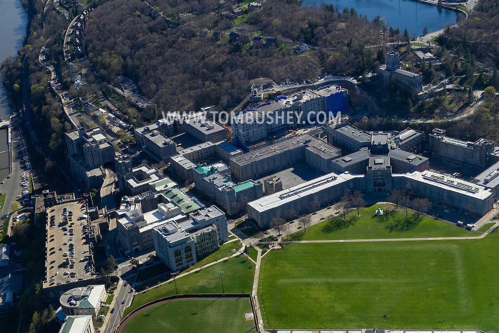 West Point, New York - An aerial view of the United States Military Academy at West Point on April 20, 2016. The Plain and Washington Hall are at the bottom and center right of the frame. Lusk Reservoir isat at the top.