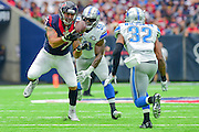 HOUSTON, TX - OCTOBER 30: Houston Texans Tight End C.J. Fiedorowicz (87) makes a big first half catch for a first down as Detroit Lions Linebacker Tahir Whitehead (59) defends during the NFL football game between the Detroit Lions and Houston Texans on October 30, 2016 at NRG Stadium in Houston, TX. (Photo by Ken Murray/Icon Sportswire)