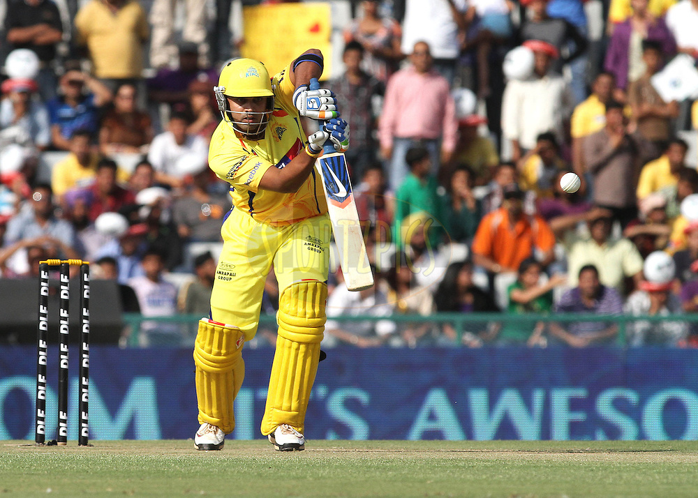 Murali Vijay of the Chennai Super Kings plays straight during match 9 of the Indian Premier League ( IPL ) Season 4 between the Kings XI Punjab and the Chennai Super Kings held at the PCA stadium in Mohali, Chandigarh, India on the 13th April 2011..Photo by Shaun Roy/BCCI/SPORTZPICS