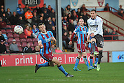 Danny Mayor (10) of Bury takes long range shot at goal  during the Sky Bet League 1 match between Scunthorpe United and Bury at Glanford Park, Scunthorpe, England on 19 April 2016. Photo by Ian Lyall.