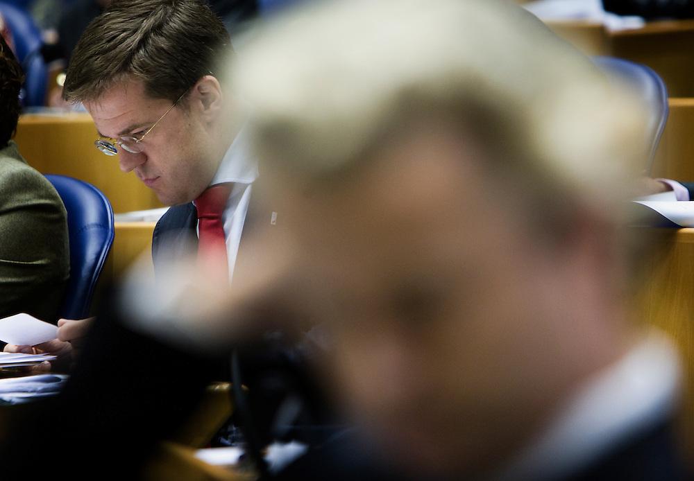 Nederland. Den Haag, 19 september 2007.<br /> Tweede dag algemene politieke beschouwingen in de tweede kamer.<br /> Mark Rutte, op de voorgrond Geert Wilders<br /> Foto Martijn Beekman <br /> NIET VOOR TROUW, AD, TELEGRAAF, NRC EN HET PAROOL