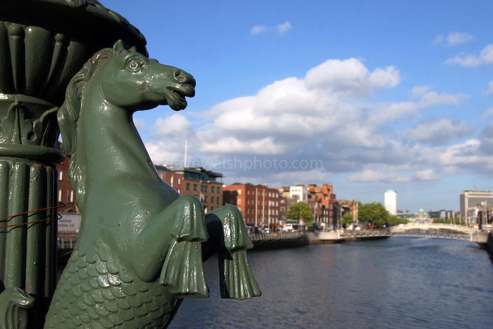 """Sea horse"" on Grattan Bridge, Dublin built by George Semple as ""Essex Bridge"" in 1750sm renamed Grattan Bridge in 1874, being named after Henry Grattan MP (1746-1820). Also known as Capel St. Bridge..."