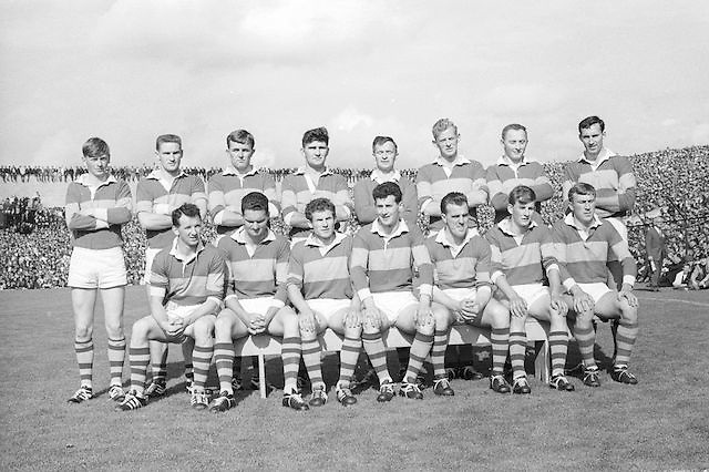 The Kerry team before the All Ireland Senior Gaelic Football Final Kerry v Down in Croke Park on the 22nd September 1968. Down 2-12 Kerry 1-13.<br /> <br /> Back row (from left) Eamon O'Donoghhue, Sean Burrows, Mick Morris, Mick O'Dwyer, Johnny Culloty, Paud O'Donoghue, D J Crowley, Mick Fleming. <br /> Front row (from left) Seamus Murphy, Mick O'Connell, Tom Prendergast, Pat Griffin (capt), Denis O'Sullivan, Brendan Lynch, Donie O'Sullivan.