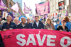 Andy Burnham MP at the head of the TUC March as the TUC March at Conservative Conference. Manchester, United Kingdom. Sunday, 29th September 2013. Picture by Elliot Franks / i-Images
