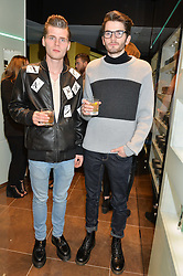 Left to right, ALFIE HUDSON-TAYLOR and HARRY HUDSON-TAYLOR at a party in celebration of LCM 2015 and the launch of the Tateossian's first ever men's-only boutique at 55 Sloane Square, London on 10th January 2015.