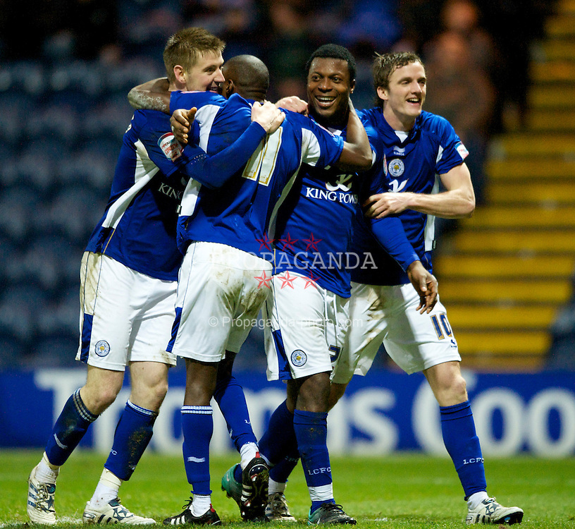 PRESTON, ENGLAND - Saturday, January 15, 2011: Leicester City's Yakubu celebrates scoring the opening goal during the Football League Championship match at Deepdale. (Photo by Chris Brunskill/Propaganda)