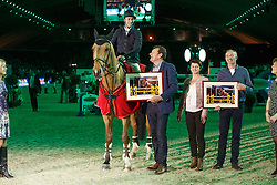 Cox Karel, (BEL), Cor Van De Wateringhoeve with breeders Mr. and Mrs. Govaerts<br /> receiving the Equitime award from Mr Kris Keersmaekers, president BWP<br /> Vlaanderen Kerstjumping - Memorial Eric Wauters - <br /> Mechelen 2015<br /> © Hippo Foto - Dirk Caremans<br /> 27/12/15