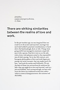Specially selected text by Alain de Botton that accompanies a limited edition Lambda digital framed print created for the 'Werk Nu' (Work Now) exhibition at the Z33 Gallery in Hasselt, Belgium from de Botton's 'The Pleasures and Sorrows of Work' book (Hamish Hamilton, 2009). <br />