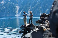 Fly fishing Crater Lake, Oregon.