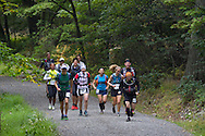 Cragsmoor, New York - The second wave of runners heads up the trail at Sam's Point Preserve at the start of the Shawangunk Ridge Trail Run/Hike 32-mile race on Sept. 20, 2014.