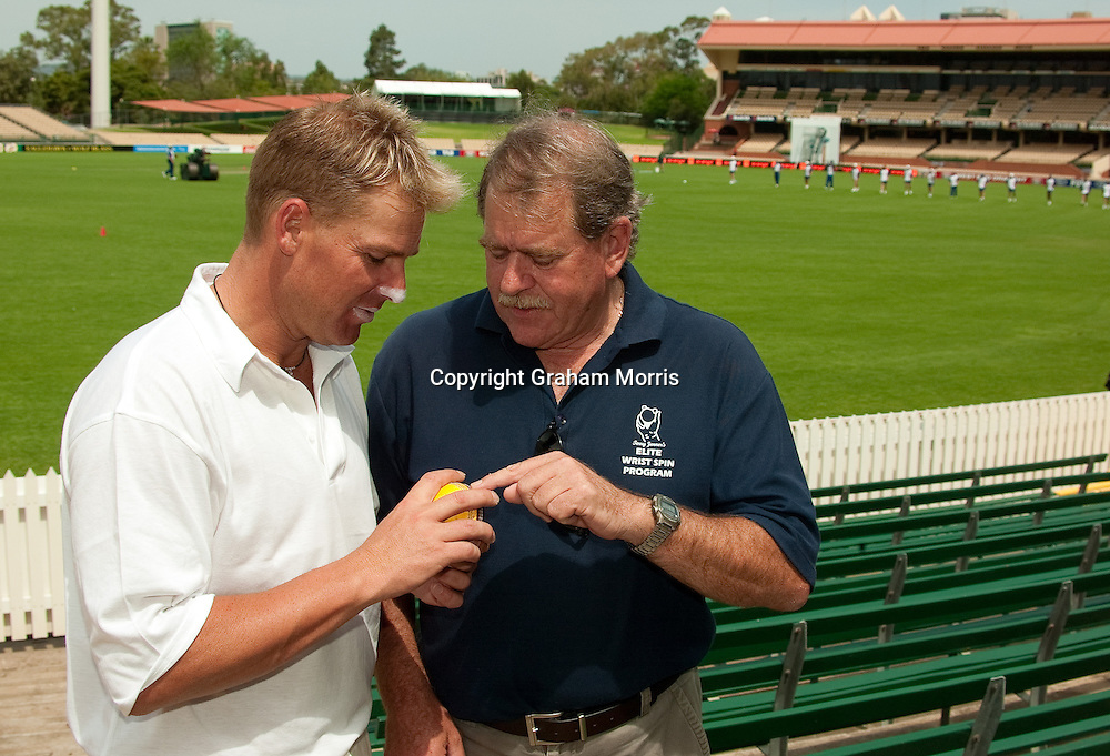 Australia spin bowler Shane Warne pictured at the Adelaide Oval with his coach and mentor,Terry Jenner . Photograph: Graham Morris/cricketpix.com (Tel: +44 (0)20 8969 4192; Email: sales@cricketpix.com) Ref. No. 02505e17