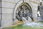 Fountain at Catalunya Square (Placa Catalunya), Barcelona, Spain