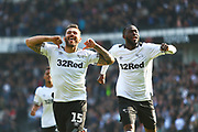 Derby County midfielder Bradley Johnson (15) scores and celebrates 2-0  during the EFL Sky Bet Championship match between Derby County and Rotherham United at the Pride Park, Derby, England on 30 March 2019.