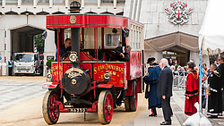 © Licensed to London News Pictures. 15/07/2015. London, UK. A Foden steam-omnibus in Guildhall during the historic Marking of Carts, which is run by The Worshipful Company.  Horse drawn carts, steam-powered and as modern modes of transport all received a branding as part of the ceremony.  Leading the ceremony were Sheriff Fiona Adler and Chief Commoner, Deputy Billie Dove OBE. Photo credit : Stephen Chung/LNP