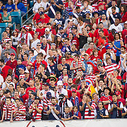 May 26 2012: USA fans cheer for their team during the U.S. Men's National Soccer Team game against Scotland at Everbank Field in Jacksonville, FL. At halftime USA lead Scotland 2-1.