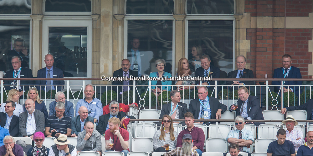 London,UK. 27 September 2017. The Prime Minister Theresa May at the Oval.  England v West Indies. In the fourth Royal London One Day International at the Kia Oval.
