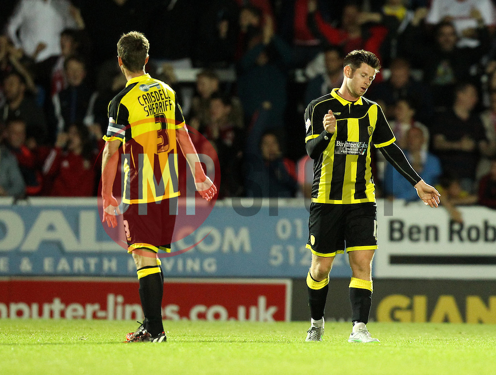Marcus Harness of Burton Albion and Shane Cansdell-Sherriff of Burton Albion look frustrated - Mandatory byline: Robbie Stephenson/JMP - 07966386802 - 25/08/2015 - FOOTBALL - Pirelli Stadium -Burton,England - Burton Albion v Middlesbrough - Capital One Cup - Second Round