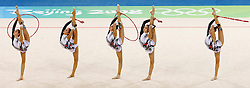 Spain's gymnastic team performs during the group all-around qualifications for rhythmic gymnastics during the Olympic games in Beijing, China, 22 August 2008.