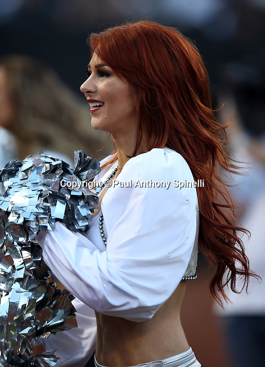 An Oakland Raiders cheerleader cheers on the sideline during the 2014 NFL preseason football game against the Detroit Lions on Friday, Aug. 15, 2014 in Oakland, Calif. The Raiders won the game 27-26. ©Paul Anthony Spinelli