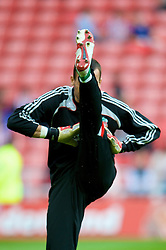 SUNDERLAND, ENGLAND - Saturday, August 16, 2008: Liverpool's goalkeeper Diego Cavalieri warms-up before the opening Premiership match of the season against Sunderland at the Stadium of Light. (Photo by David Rawcliffe/Propaganda)