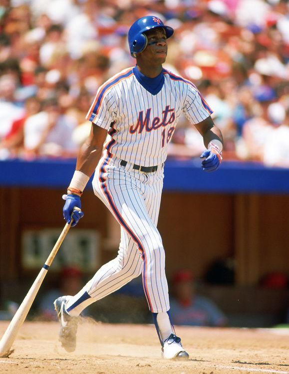 QUEENS, NY - 1988:  Darryl Strawberry of the New York Mets bats during an MLB game at Shea Stadium in Queens, NY during the 1988 season. (Photo by Ron Vesely).  Subject:   Darryl Strawberry
