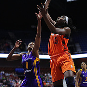UNCASVILLE, CONNECTICUT- JULY 15:  Chiney Ogwumike #13 of the Connecticut Sun shoots for two past Alana Beard #0 of the Los Angeles Sparks during the Los Angeles Sparks Vs Connecticut Sun, WNBA regular season game at Mohegan Sun Arena on July 15, 2016 in Uncasville, Connecticut. (Photo by Tim Clayton/Corbis via Getty Images)