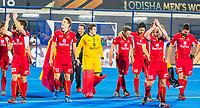 BHUBANESWAR, INDIA -  Spelers van Belgie  na  de  finale tussen België en Nederland (0-0)  bij het WK Hockey heren in het Kalinga Stadion. Belgie wint de shoot outs .  COPYRIGHT KOEN SUYK