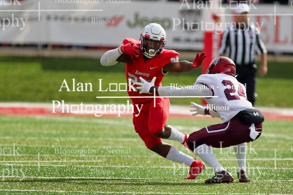NORMAL, IL - October 13: James Robinson puts out the stiff arm to ward off defender Qua Brown during a college football game between the ISU (Illinois State University) Redbirds and the Southern Illinois Salukis on October 13 2018 at Hancock Stadium in Normal, IL. (Photo by Alan Look)