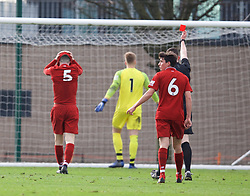 KIRKBY, ENGLAND - Saturday, January 26, 2019: Liverpool's Morgan Boyes looks dejected as he is shown a red card and sent off during the FA Premier League match between Liverpool FC and Manchester United FC at The Academy. (Pic by David Rawcliffe/Propaganda)