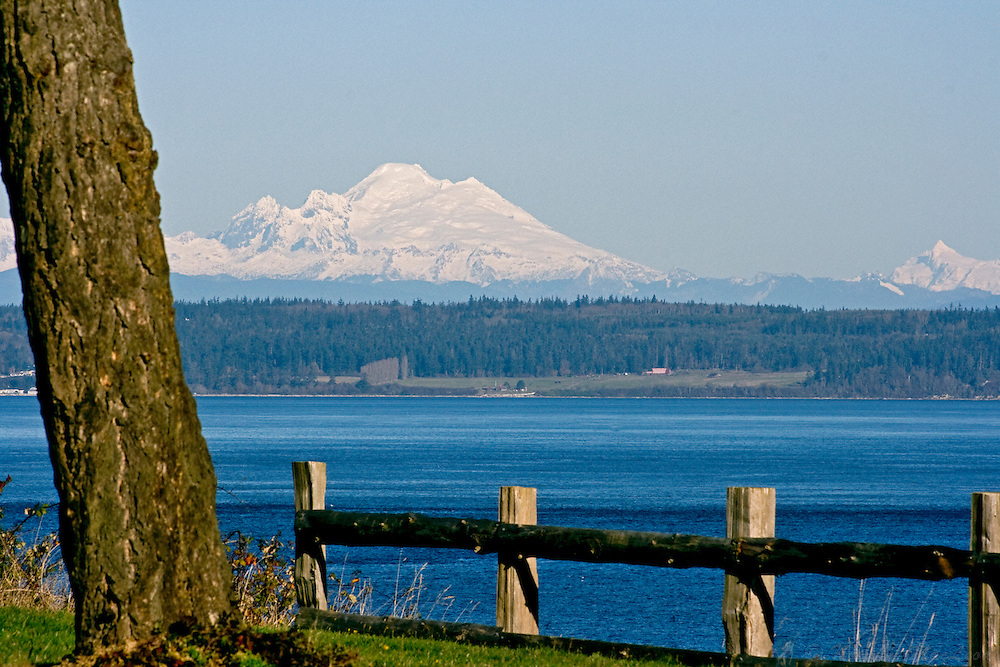 Mount Baker on a sunny January Day from Fort Flagler State Park, Marrowstone Island, Washington