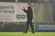 Forest Green Rovers manager, Mark Cooper applauds the fans at the end of the match during the Vanarama National League match between Forest Green Rovers and Tranmere Rovers at the New Lawn, Forest Green, United Kingdom on 22 November 2016. Photo by Shane Healey.
