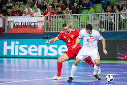 Eder Lima of Russia and Robert Gladczak of Poland during futsal match between Russia and Poland at Day 1 of UEFA Futsal EURO 2018, on January 30, 2018 in Arena Stozice, Ljubljana, Slovenia. Photo by Urban Urbanc / Sportida