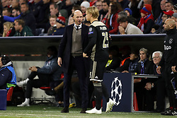(l-r) Ajax coach Erik ten Hag, Kasper Dolberg of Ajax during the UEFA Champions League group E match between Bayern Munich and Ajax Amsterdam at the Allianz Arena on October 02, 2018 in Munich, Germany