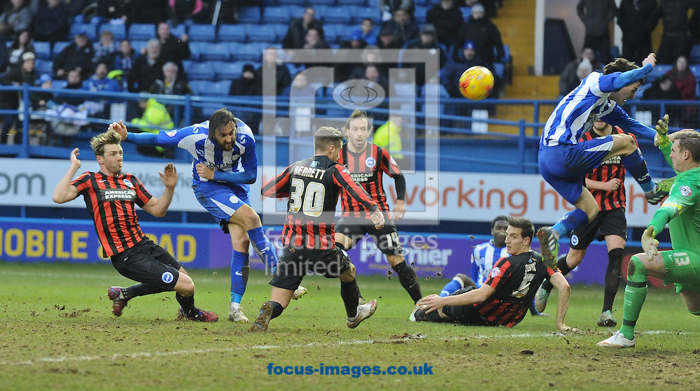 Atdhe Nuhiu (2nd L) of Sheffield Wednesday shoots high and wide to waste another chance late during the Sky Bet Championship match at Hillsborough, Sheffield<br /> Picture by Richard Land/Focus Images Ltd +44 7713 507003<br /> 14/02/2015
