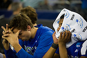 (L to R) Filip Cvjeticanin (15) and Eric McKnight (12) of the Florida Gulf Coast University Eagles react in the final moments of the NCAA South Regionals against the University of Florida Gators at Cowboys Stadium in Arlington on Friday, March 29, 2013. (Cooper Neill/The Dallas Morning News)