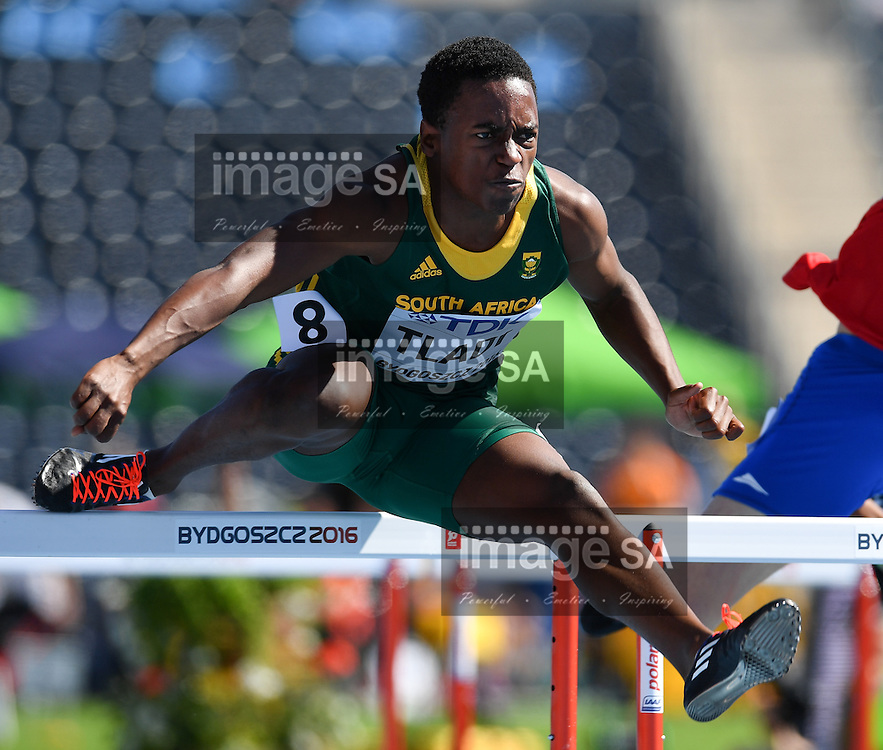 BYDGOSZCZ, POLAND - JULY 20: Mpho Tladi of South Africa in the heats of mens 110m hurdles during the morning session on day 2 of the IAAF World Junior Championships at Zawisza Stadium on July 20, 2016 in Bydgoszcz, Poland. (Photo by Roger Sedres/Gallo Images)