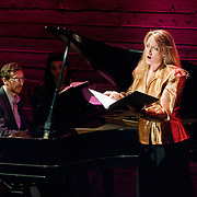 January 14, 2012 - Brooklyn, NY : .From left, pianist Michael Rose and soprano Deborah van Renterghem perform the work of Charles Ives at the Galapagos Art Space in DUMBO, Brooklyn, on Saturday evening..CREDIT: Karsten Moran for The New York Times