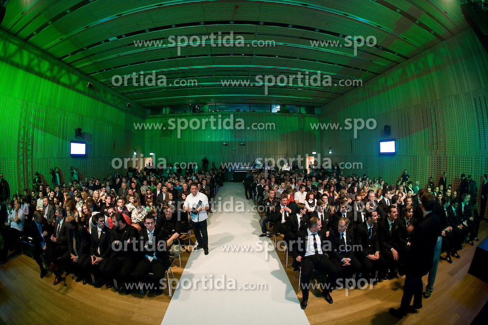Players and spectators at official presentation of Slovenian National Football team for World Cup 2010 South Africa, on May 21, 2010 in Congress Center Brdo at Kranj, Slovenia. (Photo by Vid Ponikvar / Sportida)