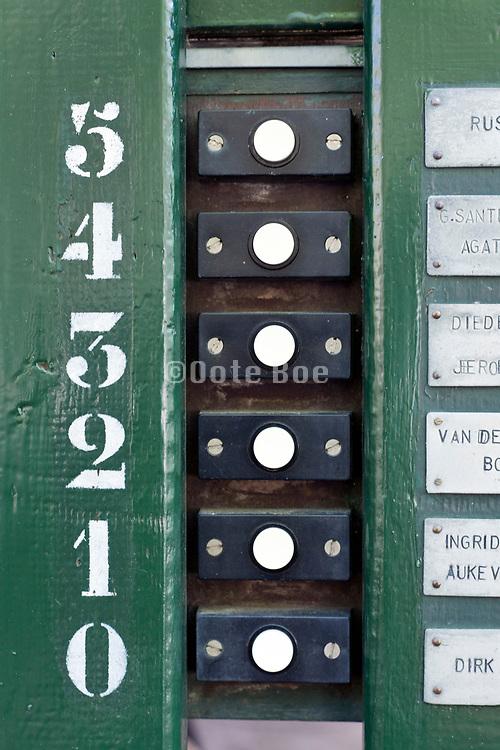 row with doorbells in Amsterdam Netherlands