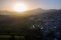 The sun rises over Ciudad Vieja, Guatemala on Tuesday, July 24, 2018. Ciudad Vieja was the second site of Santiago de los Caballeros de Guatemala, the Spanish colonial capital of the country. Image produced via drone.